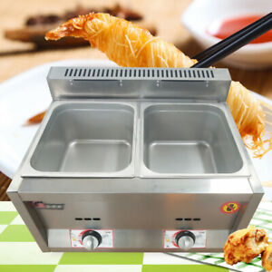 12l 6lx2 Commercial Gas Fryer Countertop Gas Deep Fryer Stainless Steel 2 pan