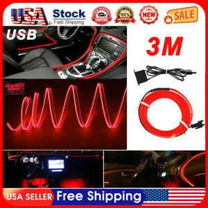 Red Led Auto Car Interior Decor Atmosphere Wire Strip Light Lamp Accessories Us