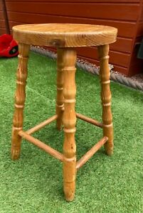 Vintage Rustic Wooden Pine Stool Bar Dining Kitchen Cafe Turned Legs 1