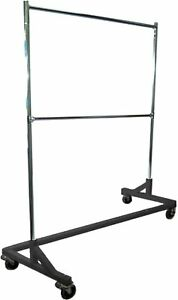 5 Foot Adjustable Height Commercial Double rail Rolling Z Rack Chrome Black