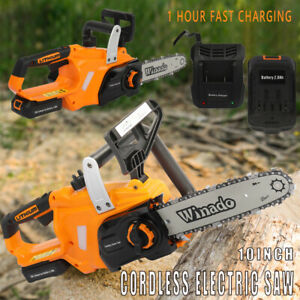 10inch Cordless Electric Chain Saw Wood Cutter Chainsaw Fast Charging 20v 2 0ah
