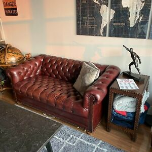 Hancock And Moore Leather Chesterfield Loveseat Sofa