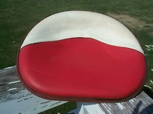 Farmall Cub Vintage Red white Vinyl Tractor Seat 4 Bolt Used