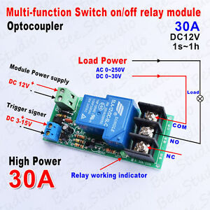 Dc 12v 30a Multifunction Optocouple Delay Time Switch Timer Relay On off Module