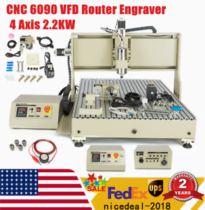 Usb 4 Axis Cnc 6090router Engraver Machine Wood Drilling Milling Cutter 2200w