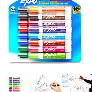 Expo Low Odor Dry Erase Markers Chisel Tip Assorted Colors 16 Pack 16 count