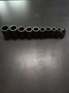 Snap On 10 Piece 12 Inch Drive 6 Point Sae Shallow Impact Socket Set