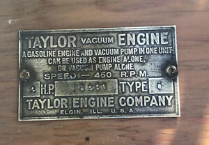 Taylor Vacuum Pump Gas Engine Brass Data Tag Antique Hit Miss 2hp Type C