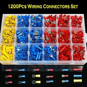 1200x Assorted Crimp Spade Terminal Insulated Electrical Wire Connector Kit Set