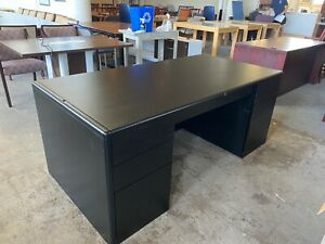 Executive Desk By Steelcase Office Furniture In Black Color Wood
