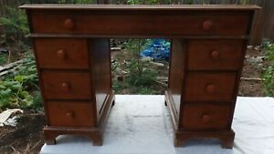Rare Vintage Old Antique Mid Century Red Leather Top Maple Desk Maddox Table Co