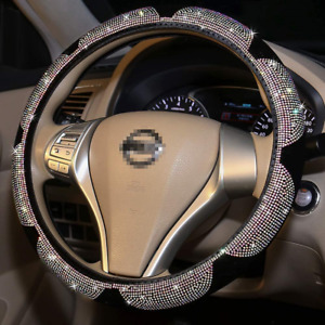 Fuzzy Bling Steering Wheel Cover For Woman Sunflower Sparkly Colorful Diamond