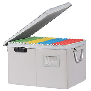 Muifa File Box With Lock Collapsible File Storage Box With Zippers Portable