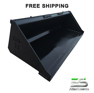 Es New 72 Smooth Bucket Skid Steer Quick Attach Loader Tractor Free Shipping