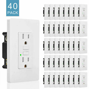 Gfci 15 A Amp Electrical Outlet Ac Duplex Receptacle Led With Wall Cover 40 Pack