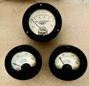 Vintage Lot 3 Volt Meters Hickok Jewell Milliamperes Direct Current Steampunk