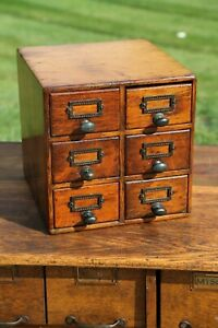 Antique Oak 6 Drawer Library Card Catalog Wood File Cabinet Apothecary Cabinet