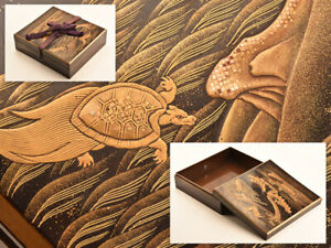 071 Japanese Old Wooden Box Laquer Ware Turtle Crane Golden Makie Ribbon