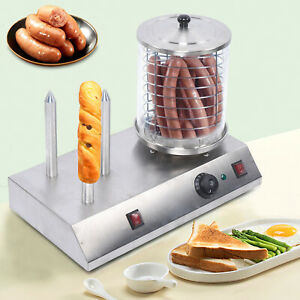 Commercial Electric Hot Dog Bread Grill Steamer Waffle Stick Warmer Heater