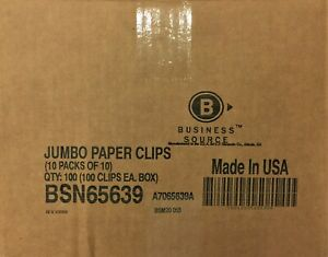 100 Boxes Business Source Paper Clips Jumbo 100 box Bsn65639