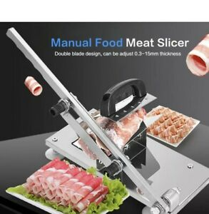Pro Adjustable Manual Frozen Meat Food Slicer Stainless Steel Beef Cutter Bbq