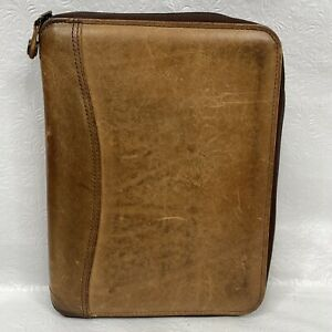 Vtg Franklin Covey Spacemaker Brown Leather Zip Close Classic 7 Ring Planner Usa