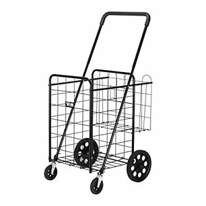 Folding Jumbo Grocery Shopping Cart Easily Collapsible Heavy Duty Black