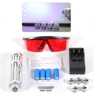 Blue Laser Light Focus Visible Beam Adjustable W Battery charger Touch Switch