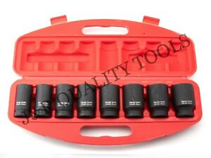9 Pc 3 4 Drive Dr Black Air Impact Metric Mm Size Sized Deep Socket Tool Set