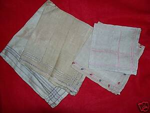 Vintage Antique 4 Silk Pocket Square Hankerchiefs Hankies