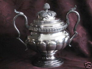G Eoff Sterling Silver Double Handled Covered Urn Trees