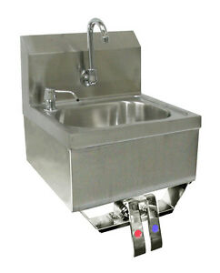 Ace S s Hand Sink 16x15 Knee Operated Valve No Lead Faucet strainer Hs 1615kg