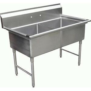 Nsf Commerical 24 X 24 Two Compartment Sink Without Drain Board Sh24242n