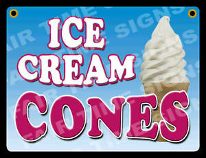 Ice Cream Cone Sign concession Trailer stand restaurant 12 X 17 Pvc