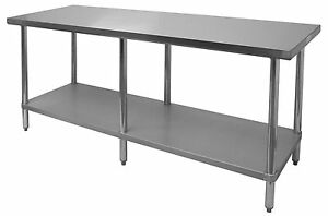 Gsw 30 wx96 l 18 Gauge Polished Stainless Steel Flat Top Work Table Nsf Wt e3096