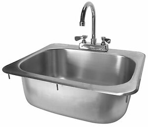 Stainless Steel Drop In Hand Sink 16x15 W New Lever Handle Faucet Etl Hs 1615ih