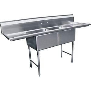2 Compartment Stainless Steel Two Tubs Sink 15 x15 W 2 Drainboard Etl Se15152d