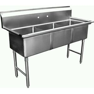 3 Compartment Stainless Steel Sink 15 x15 Without Drainboard Etl Se15153n