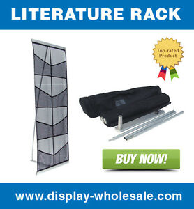 Eight pocket Mesh Floor Literature Rack Brochure Magazine Display Holder