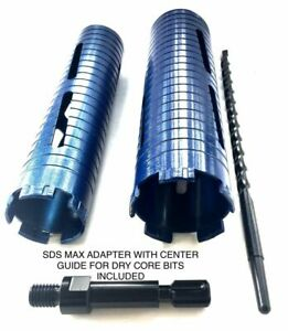 1 And 3 Dry Core Bit With 2 Sds Max Adapters And 2 Center Guides