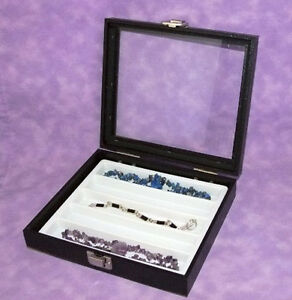 Necklace bracelet Glass Top Jewelry Display Case Wht