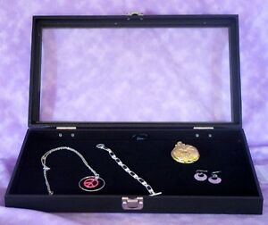 Jewelry Tray With Hinged Glass Lid W Black Velvet