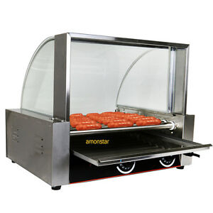 Commercial 24 Hot Dog Hotdog 9 Roller Grill Cooker Machine W cover Stainless