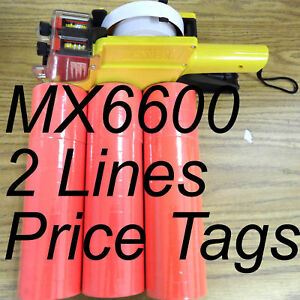 Red 42 Roll X 500 Tag Label Refill For Motex Mx 6600 Two Line Price Gun