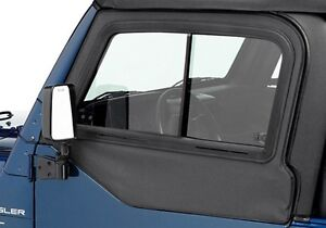 1997 2006 Jeep Wrangler Front Upper Doors Sliding Glass Window Pair Black Denim