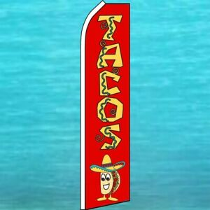 Tacos Flutter Flag Tall Curved Top Advertising Feather Swooper Wind Banner Sign