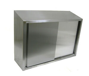 Ace Cwd 1536s 15x36x35 Stainless Steel Slope Top Wall Cabinet 2 Sliding Doors