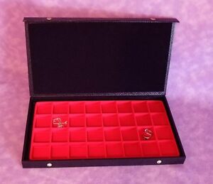 Textured Top 32 Earring jewelry Display Case Red