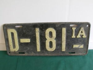 Iowa License Plate 1916 1917 1918 Ford Chevy Dodge