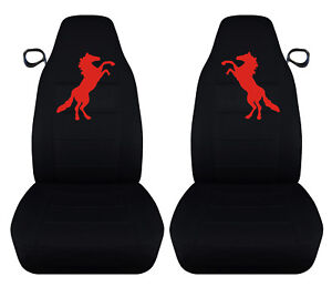 Designcovers Fits 94 2004 Ford Mustang Front Car Seat Covers Black W Red Horse